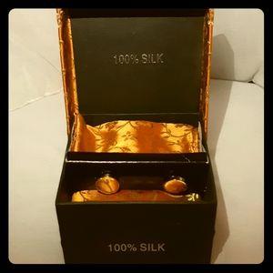 Other - VINTAGE 100% silk - hanky/cufflinks/tie for men